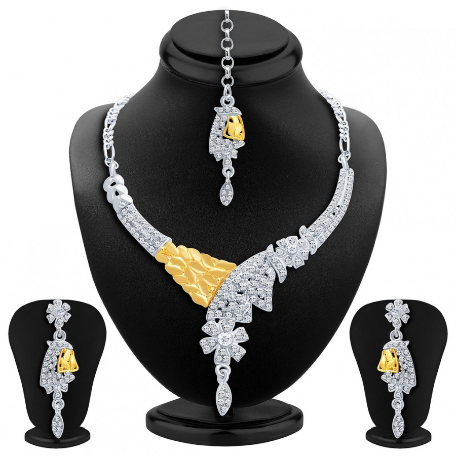 Buy Sukkhi Classic Gold and Rhodium Plated AD Necklace Set Online