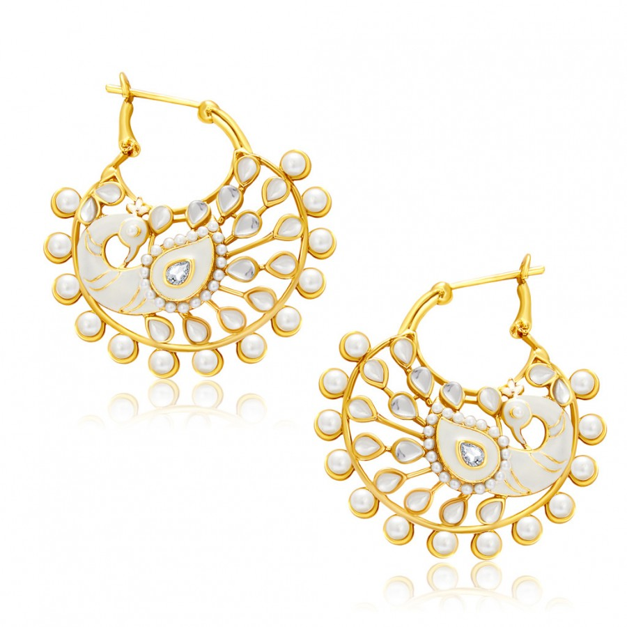 Buy Sukkhi Glittery Peacock Gold Plated Chandbali Earring For Women Online