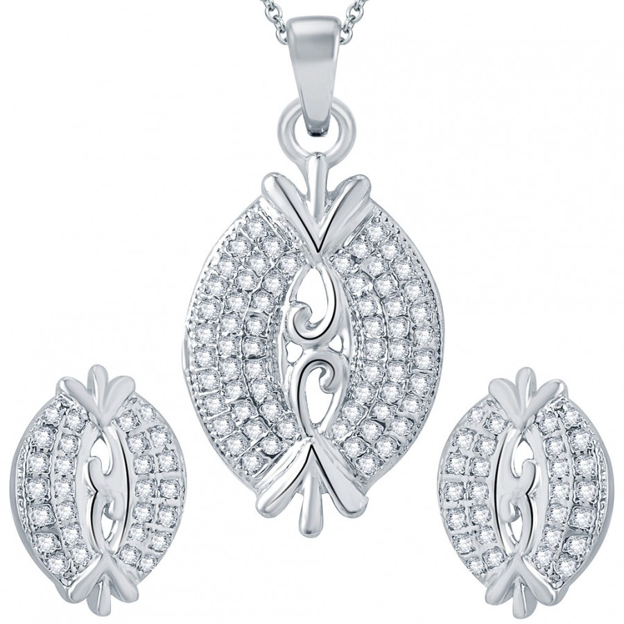 Buy Pissara Estonish Rhodium plated Micro Pave Setting CZ Pendant Set Online
