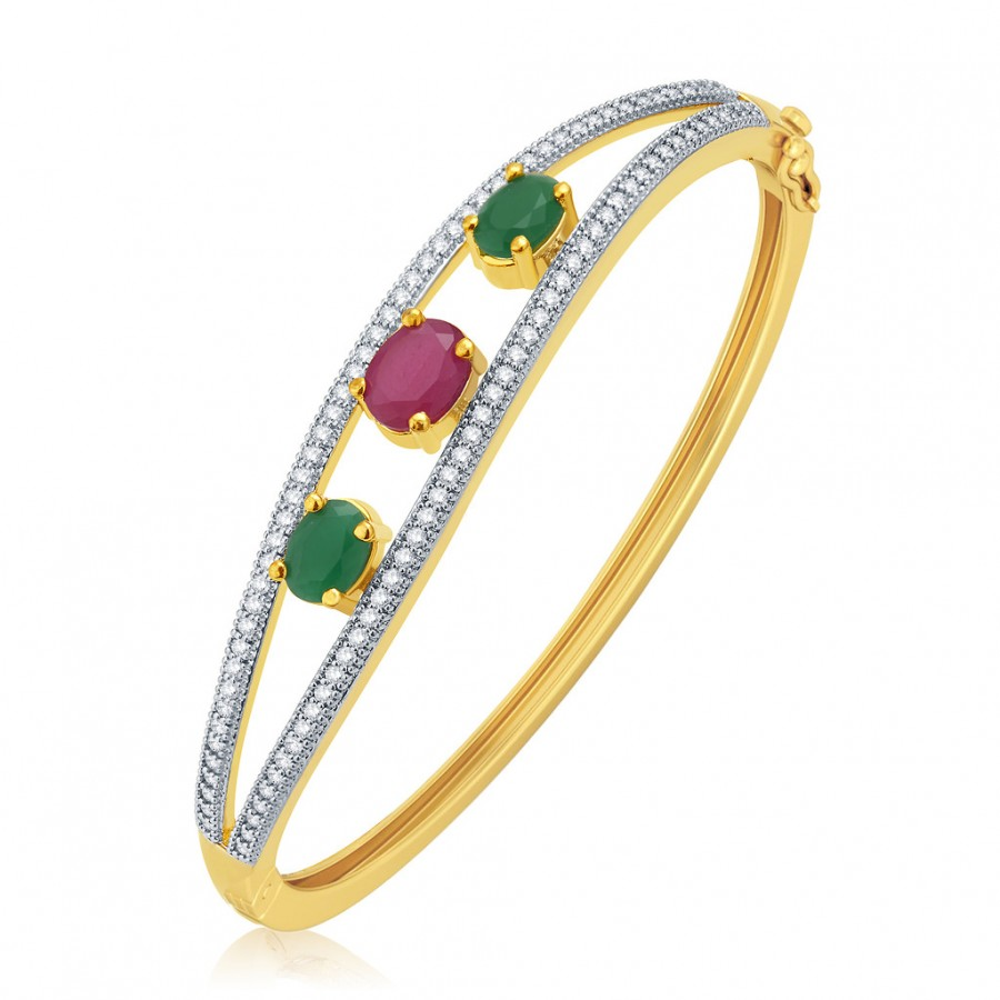 Buy Pissara Exotic Gold And Rhodium Plated Ruby CZ Kada For Women Online