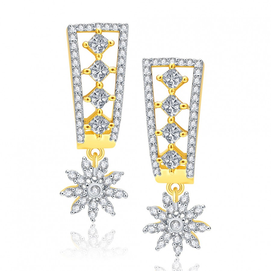 Buy Pissara Versatile Gold And Rhodium Plated CZ Earrings For Women Online