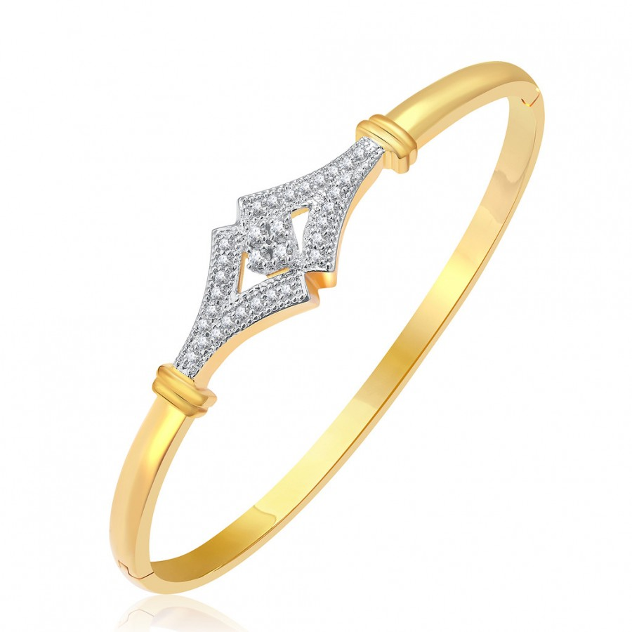 Buy Pissara Splendour Gold And Rhodium Plated CZ Kada For Women Online