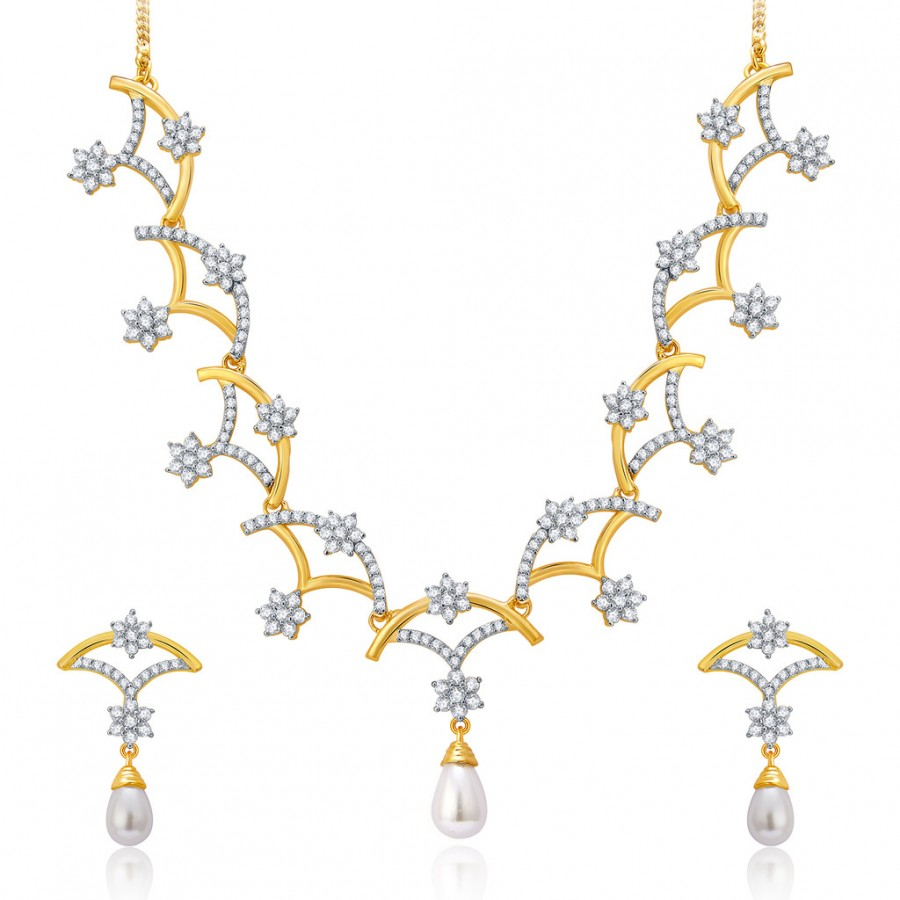 Buy Pissara Floral Gold And Rhodium Plated CZ Neklace Set For Women Online