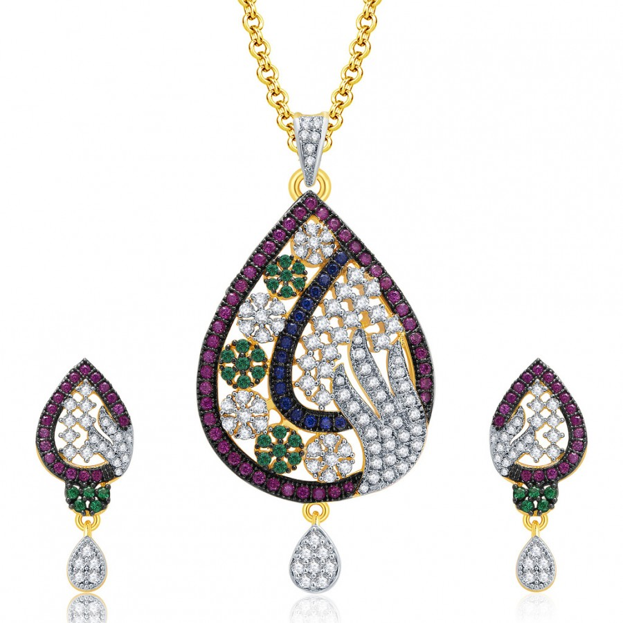 Buy Pissara Mesmerizing Gold And Rhodium Plated CZ Pendant Set For Women Online