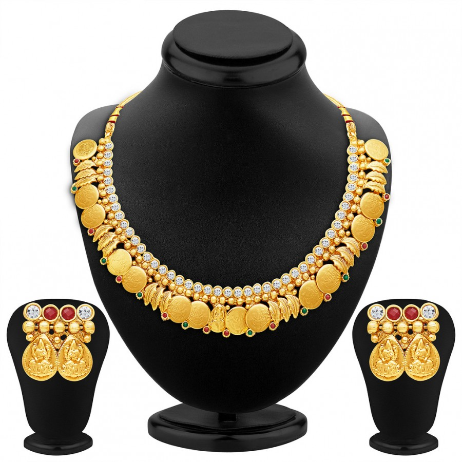 Buy Sukkhi Modern Gold Plated Temple Jewellery Necklace Set Online