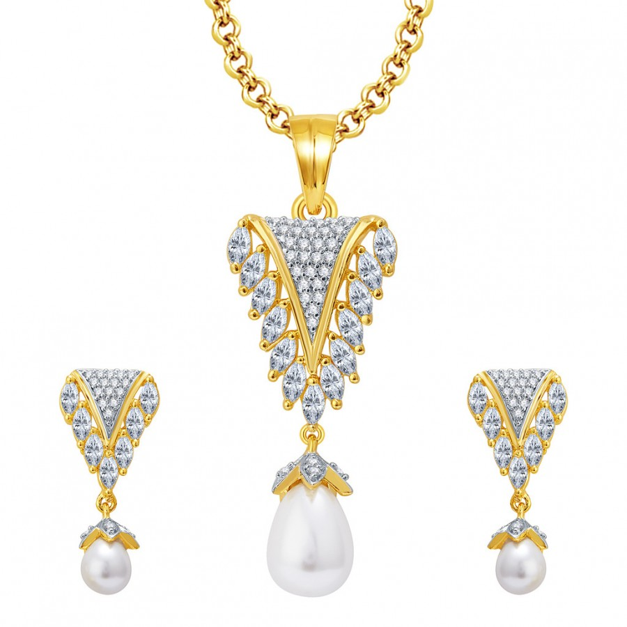 Buy Pissara Sparkly Gold And Rhodium Plated CZ Pendant Set For Women Online