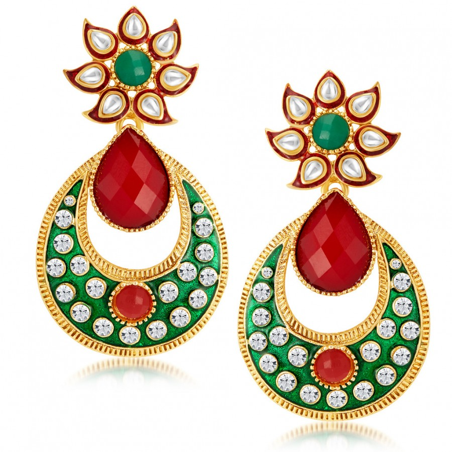 Buy Sukkhi Attractive Gold Plated Australian Diamond Earrings Online