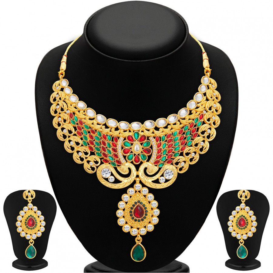 Buy Sukkhi Splendid Gold Plated AD Necklace Set For Women Online