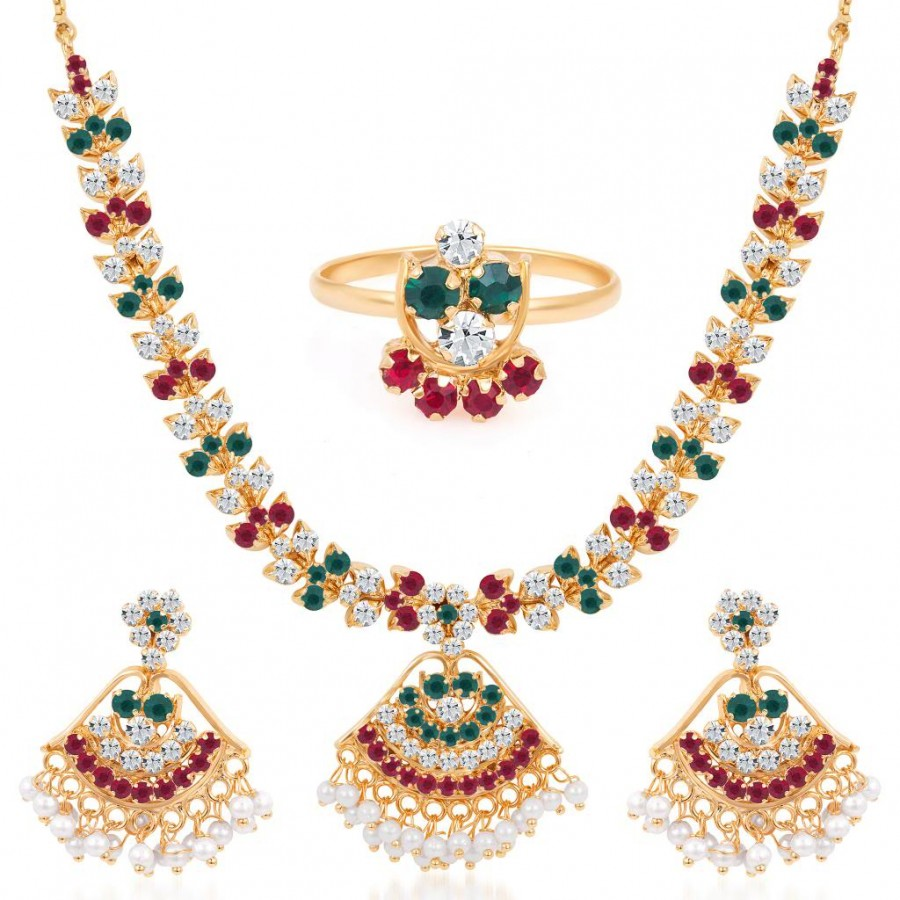Buy Sukkhi Paisley Gold Plated AD Necklace-Earring-Ring Set Online