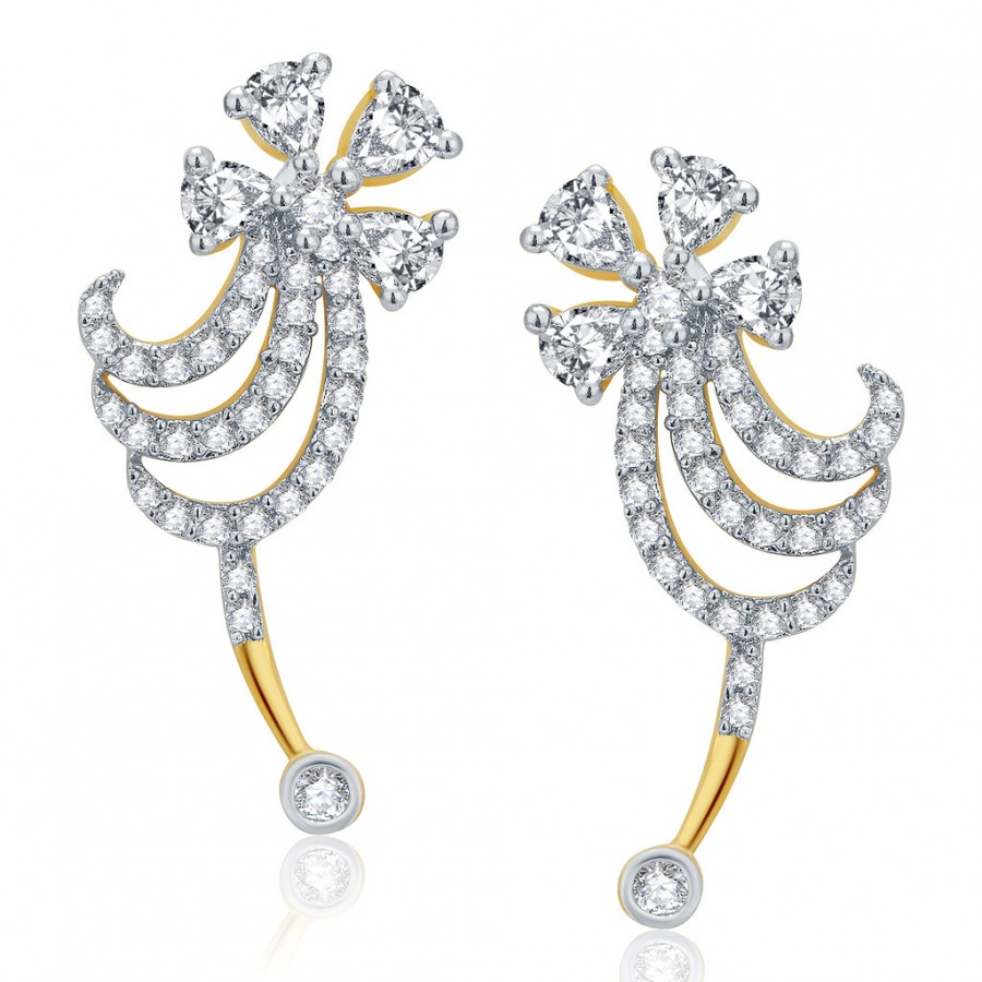 Buy Pissara Ravishing Gold And Rhodium Plated CZ Earcuff For Women Online