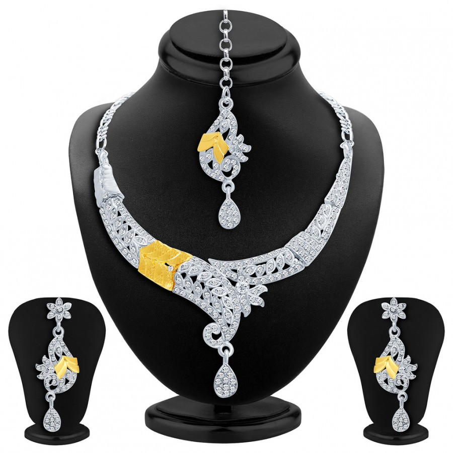 Buy Sukkhi Fancy Gold and Rhodium Plated AD Necklace Set Online