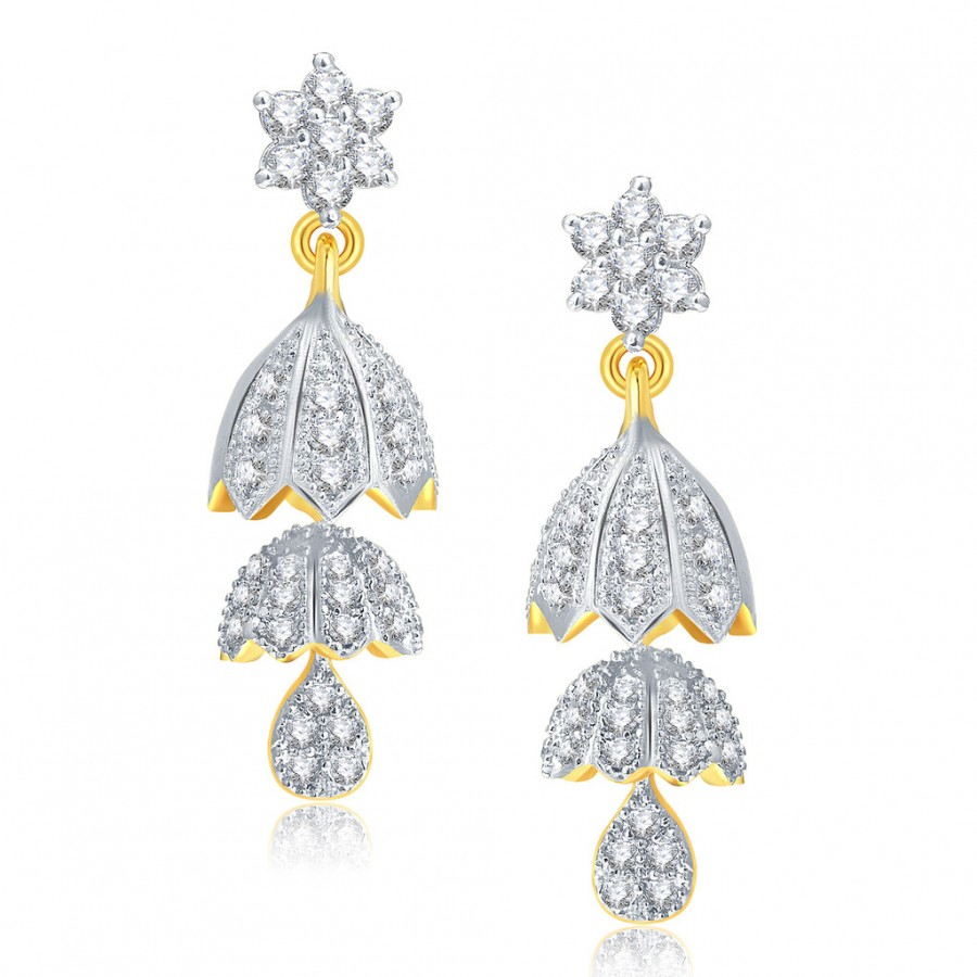 Buy Pissara Enticing Gold And Rhodium Plated CZ Jhumki For Women Online
