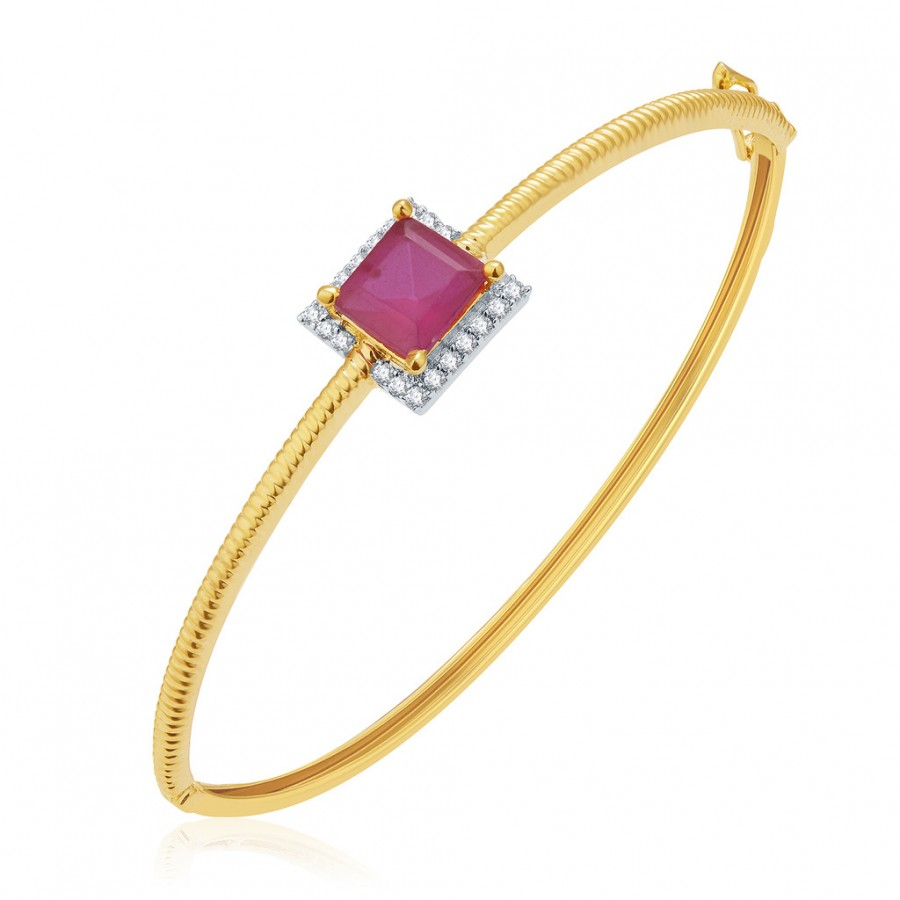 Buy Pissara Magnificient Gold And Rhodium Plated Ruby CZ Kada For Women Online