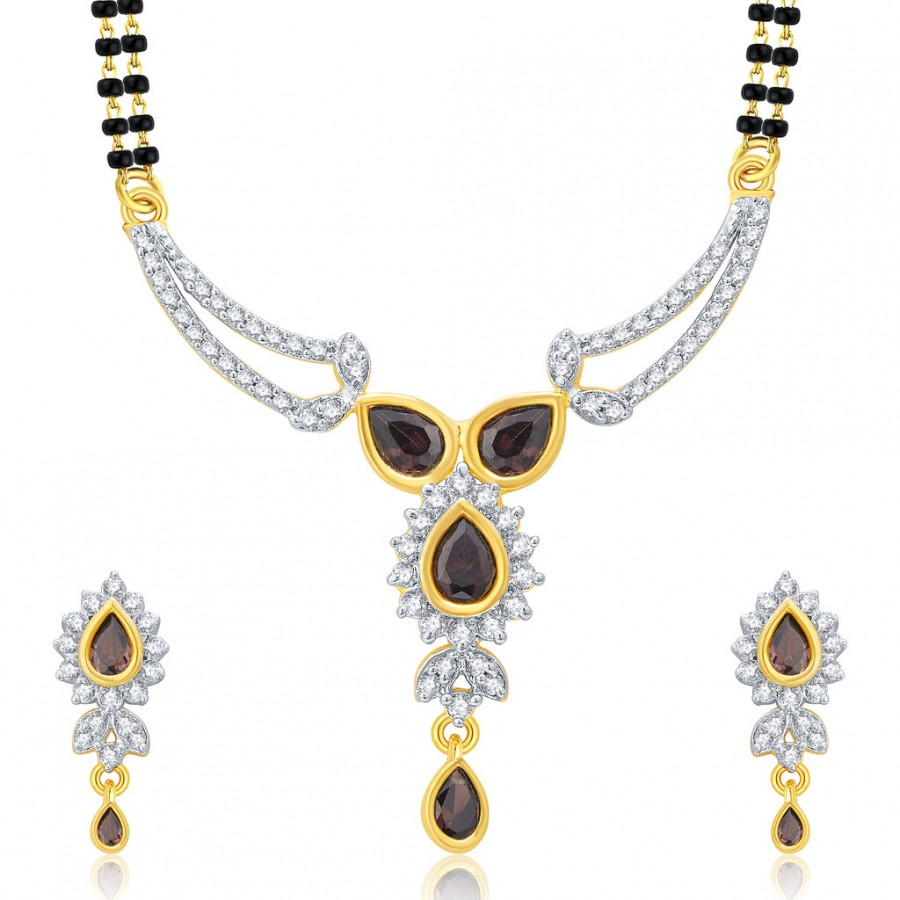 Buy Pissara Decorative Gold And Rhodium Plated CZ Mangalasutra Set For Women Online