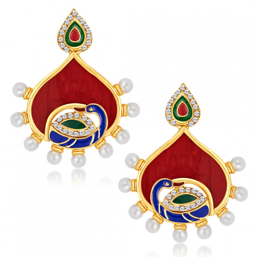 Buy Sukkhi Beguiling Peacock Gold Plated Australian Diamond Earrings Online