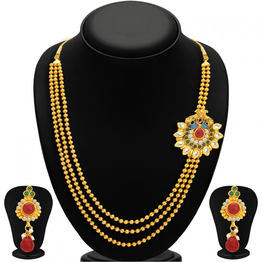 Buy Sukkhi Exquitely Pecock Gold Plated Necklace Set For Women Online