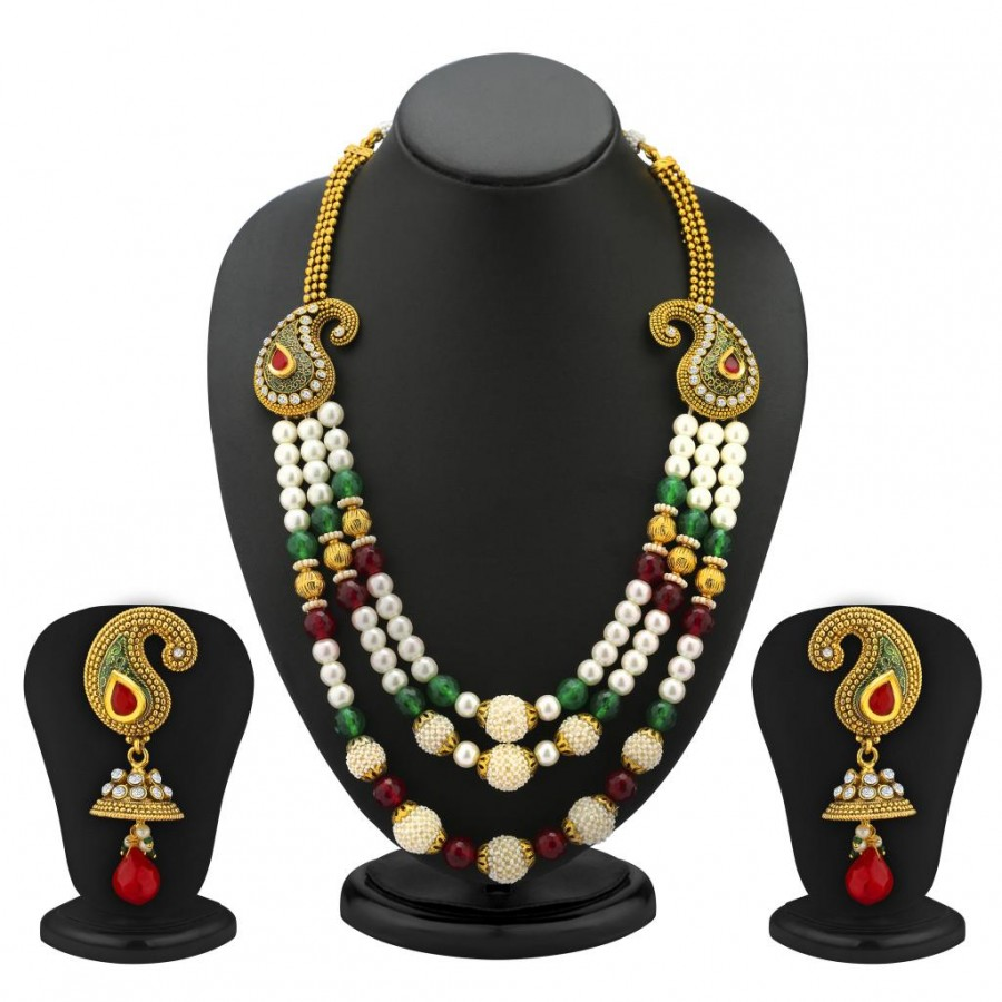 Buy Sukkhi 3 Strings Keri Design Gold Plated Antique Moti Necklace Set Online