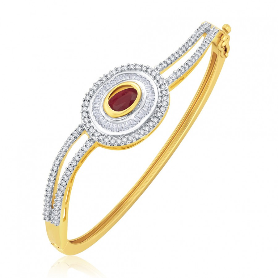 Buy Pissara Bewitching Gold And Rhodium Plated Ruby CZ Kada For Women Online