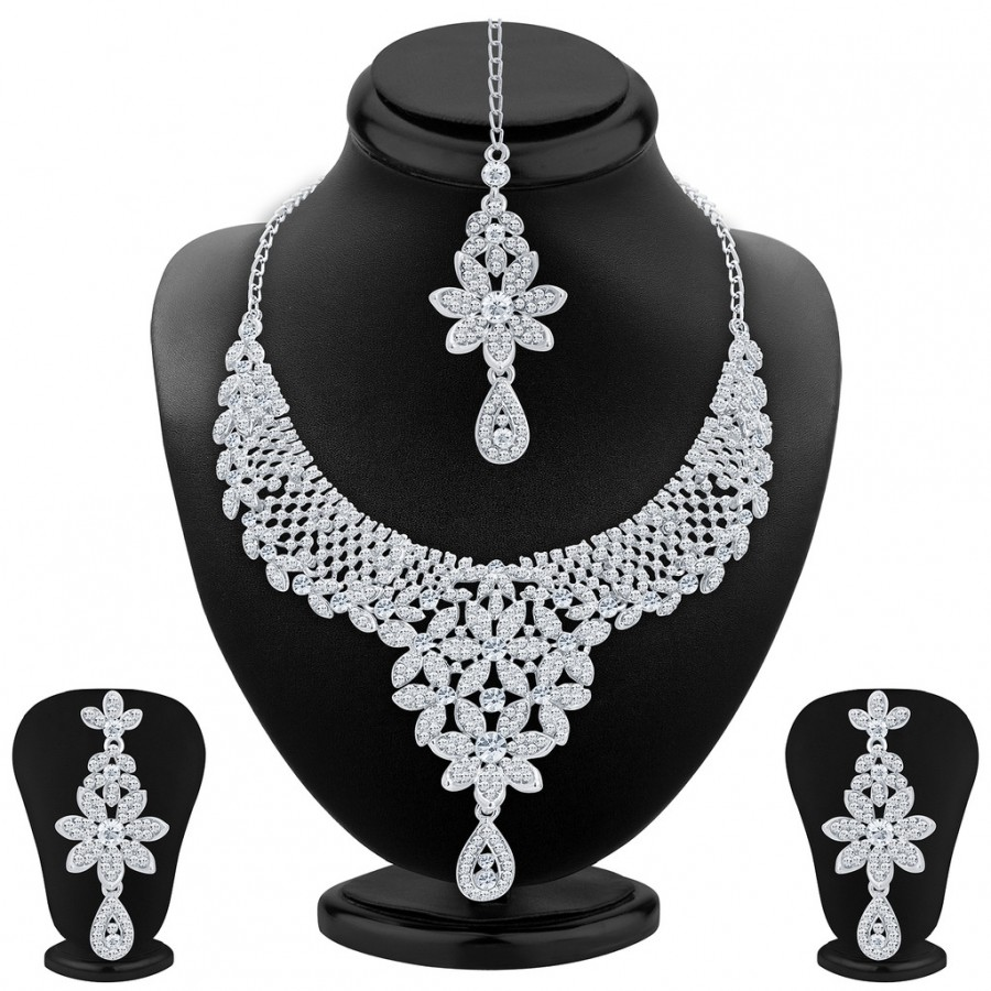 Buy Sukkhi Modern Rhodium Plated AD Necklace Set For Women Online