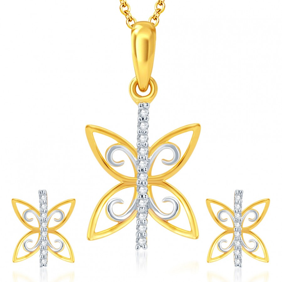 Buy Pissara Butterfly Gold and Rhodium Plated CZ Pendant Set Online