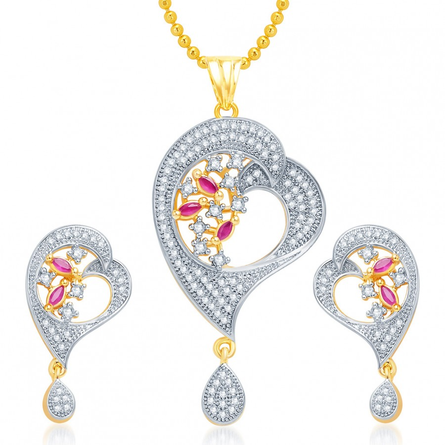 Buy Pissara Appealing Gold and Rhodium Plated CZ Pendant Set Online