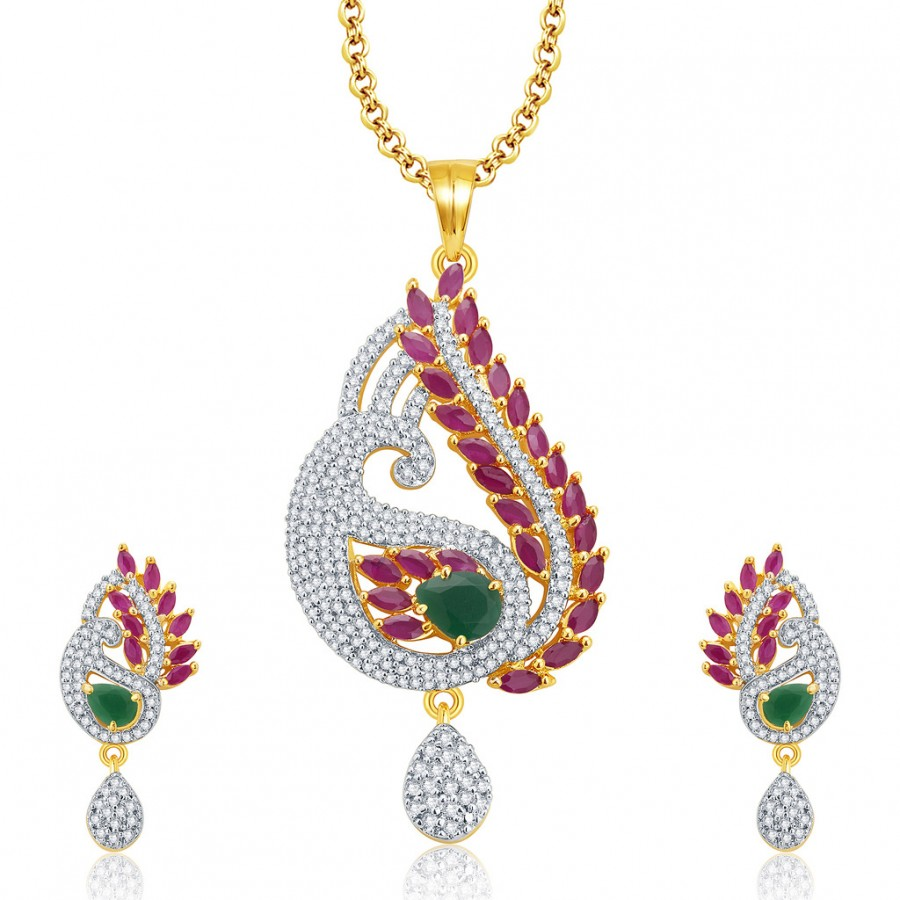 Buy Pissara Striking Gold And Rhodium Plated Ruby CZ Pendant Set For Women Online