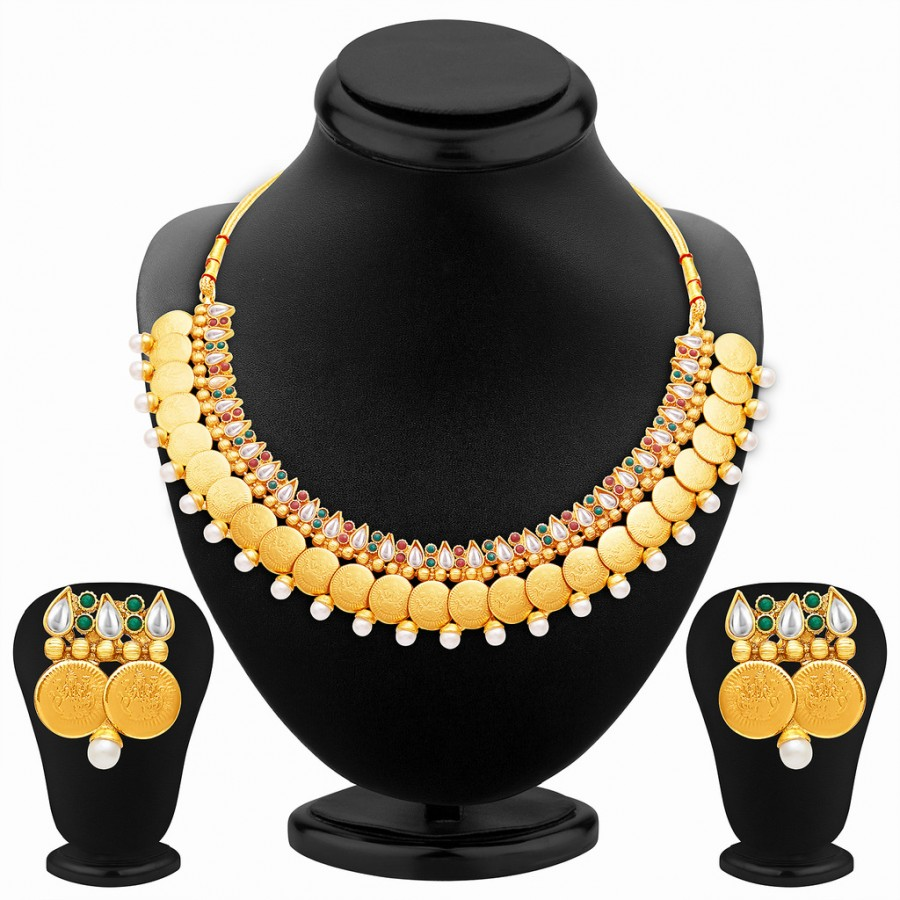 Buy Sukkhi Delightful Gold Plated Temple Jewellery Necklace Set Online