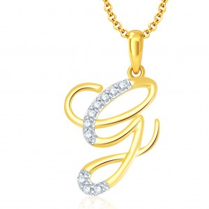 """Buy Pissara Letter"""" G"""" Gold and Rhodium Plated CZ Alphabet Pendant Online"""
