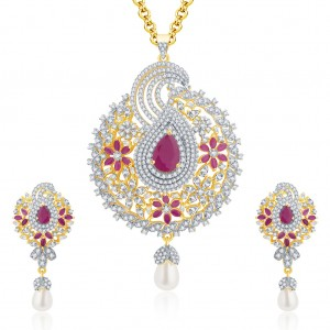 Buy Pissara Vivid Gold And Rhodium Plated Ruby CZ Pendant Set For Women Online