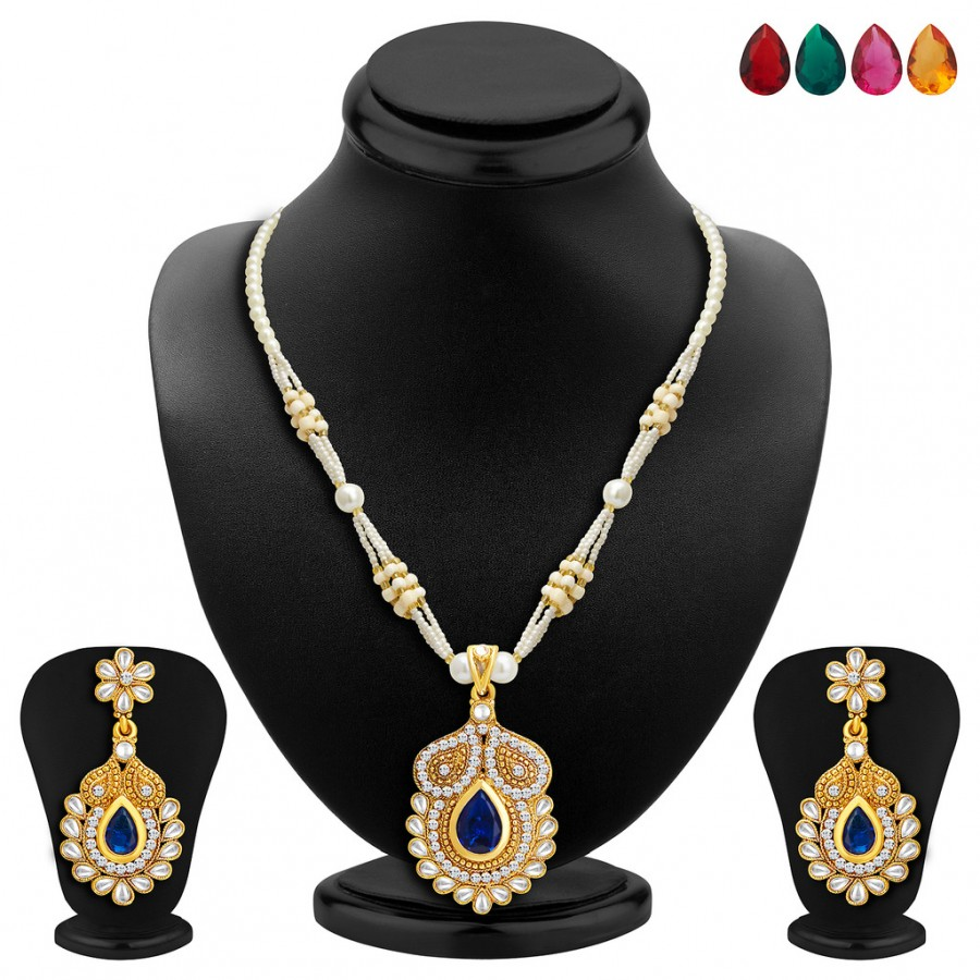 Buy Sukkhi Classy Gold Plated AD Necklace Set with Set of 5 Changeable Stone Online