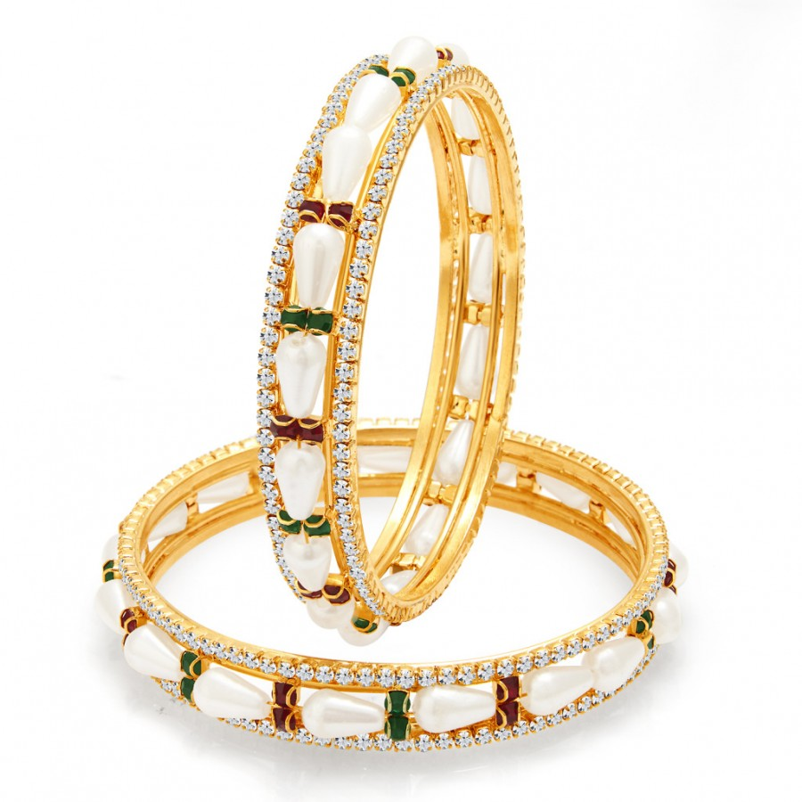 Buy Sukkhi Glorious Gold Plated Pearl AD Bangle For Women Online