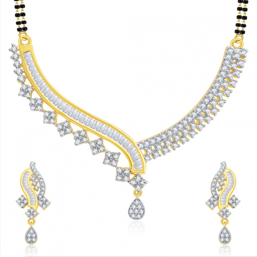 Buy Pissara Beguiling Gold And Rhodium Plated CZ Mangalasutra Set For Women Online