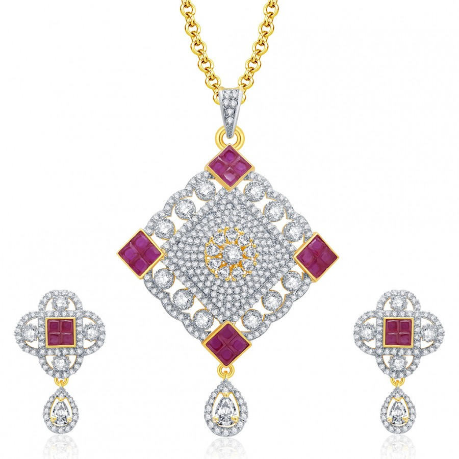 Buy Pissara Breathtaking Gold And Rhodium Plated Ruby CZ Pendant Set For Women Online