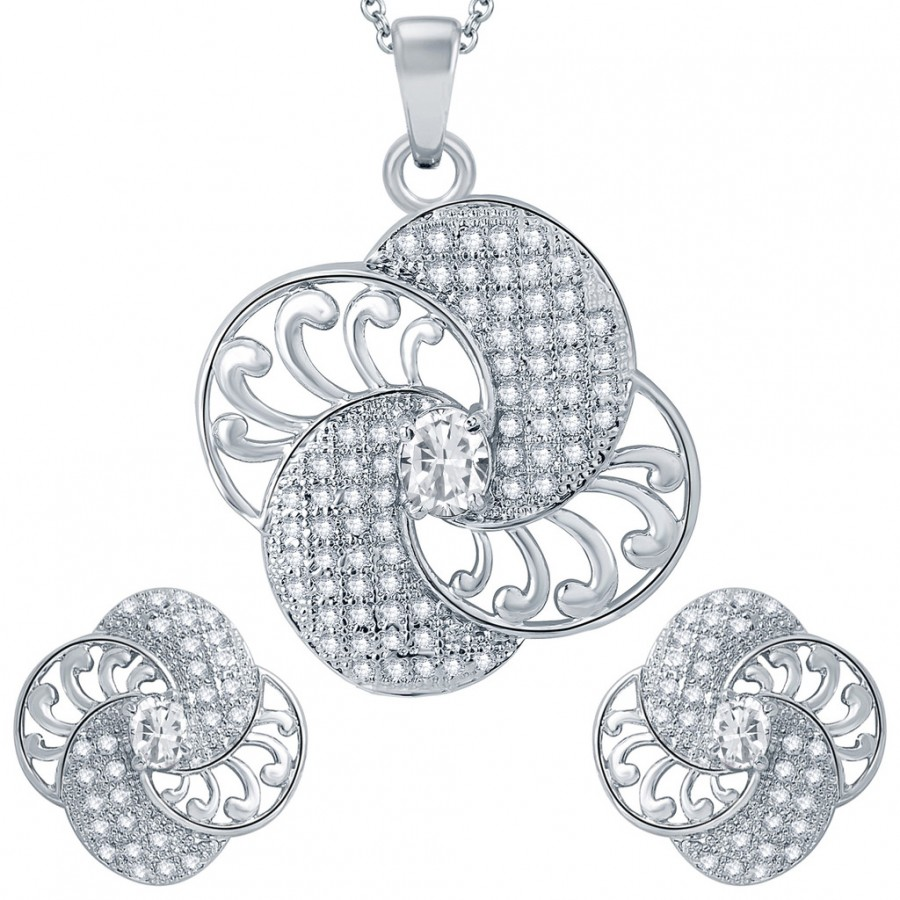 Buy Pissara Classy Rhodium plated Micro Pave Setting CZ Pendant Set Online