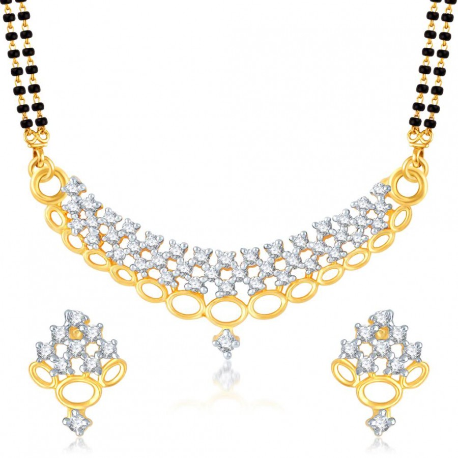 Buy Pissara Gleaming Gold and Rhodium Plated Cubic Zirconia Stone Studded Mangalsutra Set Online