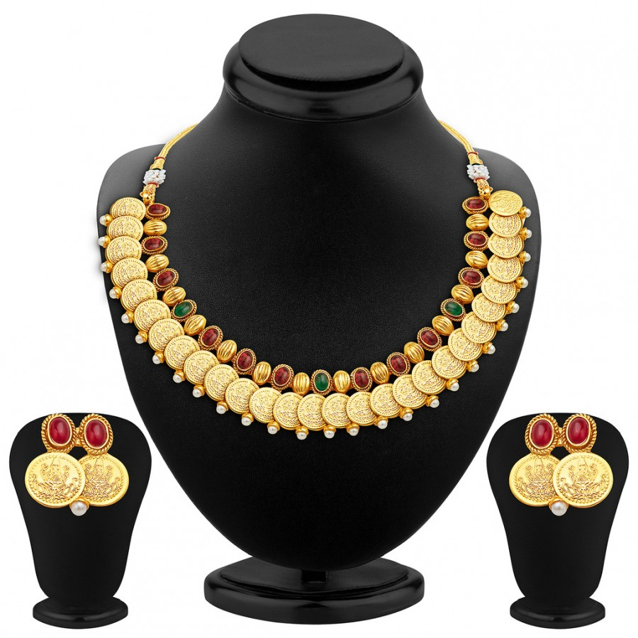 Buy Sukkhi Charming Gold Plated Temple Jewellery Necklace Set Online