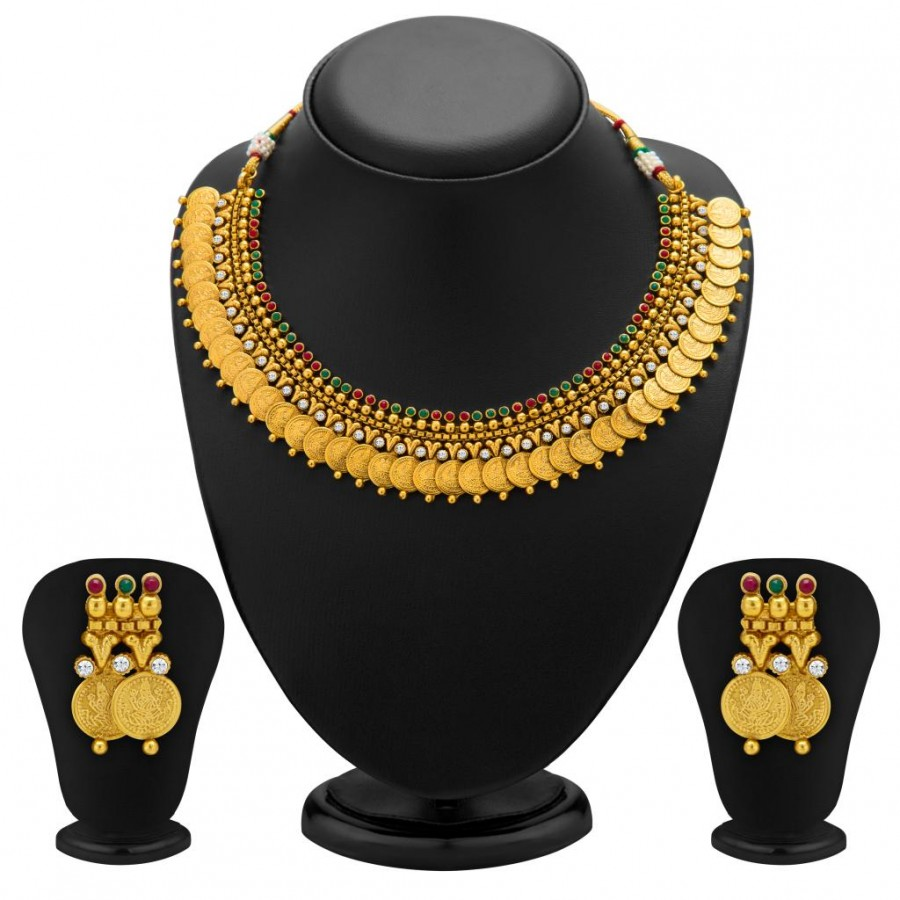 Buy Sukkhi Enchanting Gold Plated Temple Jewellery Coin Necklace Set for Women Online