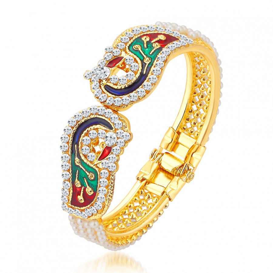 Buy Sukkhi Glorious Pecock Gold Plated AD Kada For Women Online