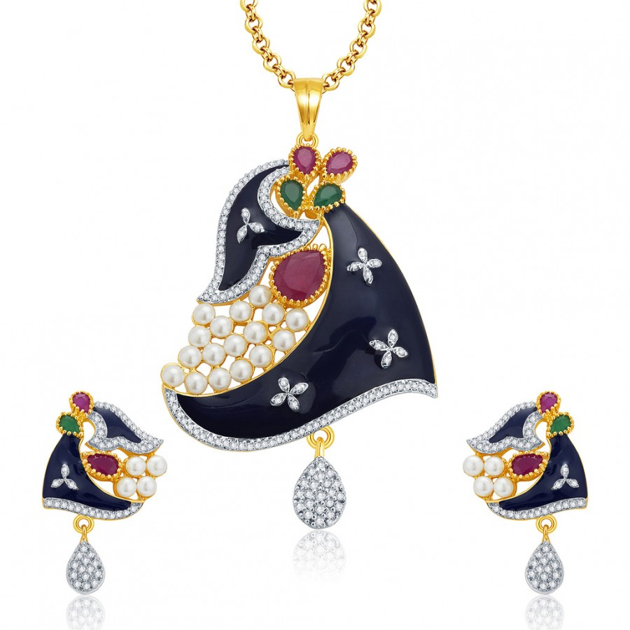 Buy Pissara Enrapture Gold And Rhodium Plated Ruby CZ Pendant Set For Women Online
