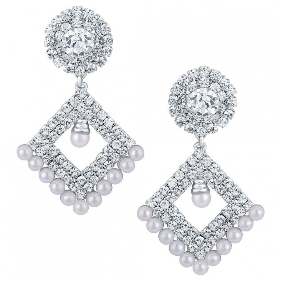 Buy Sukkhi Fascinating Rhodium plated Earrings With AD and White Pearls Online