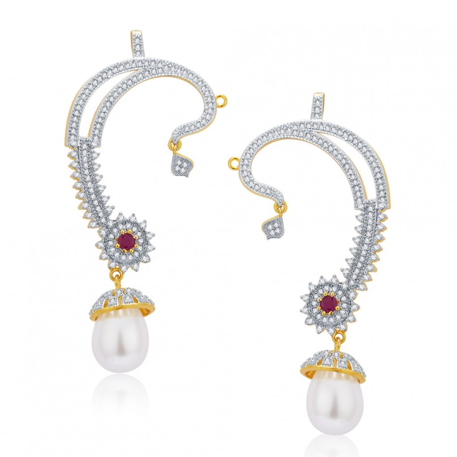 Buy Pissara Lavish Gold And Rhodium Plated Ruby CZ Earcuff For Women Online