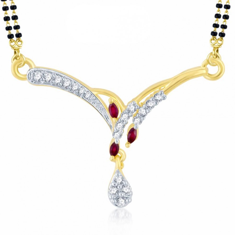 Buy Pissara Finely Gold and Rhodium Plated Cubic Zirconia and Ruby Stone Studded Mangalsutra Pendant Online