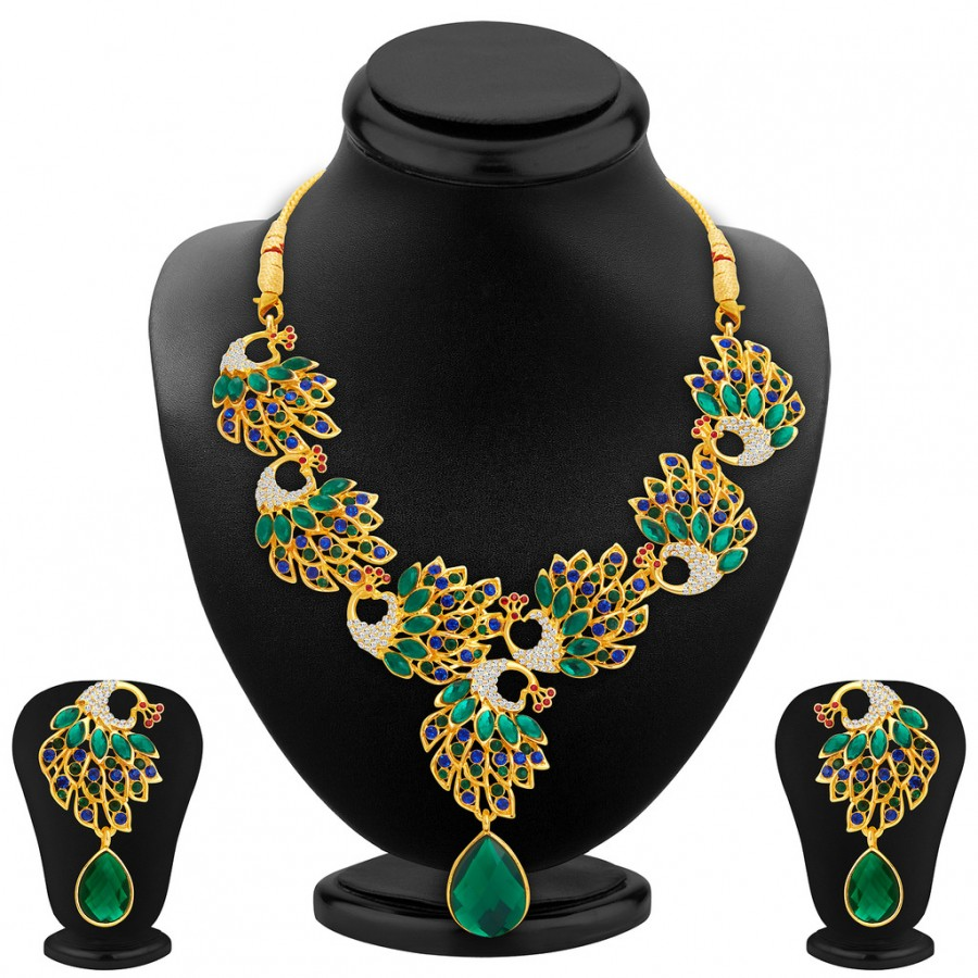 Buy Sukkhi Cluster Peacock Gold Plated AD Necklace Set For Women Online