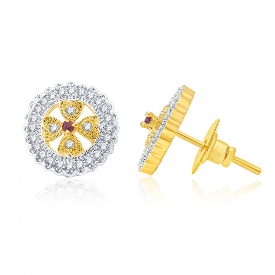 Buy Pissara Trendy Gold And Rhodium Plated Ruby CZ Stud Earrings For Women Online