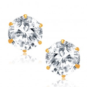 Buy Pissara Glittery Gold and Rhodium Plated CZ Earrings For Women Online