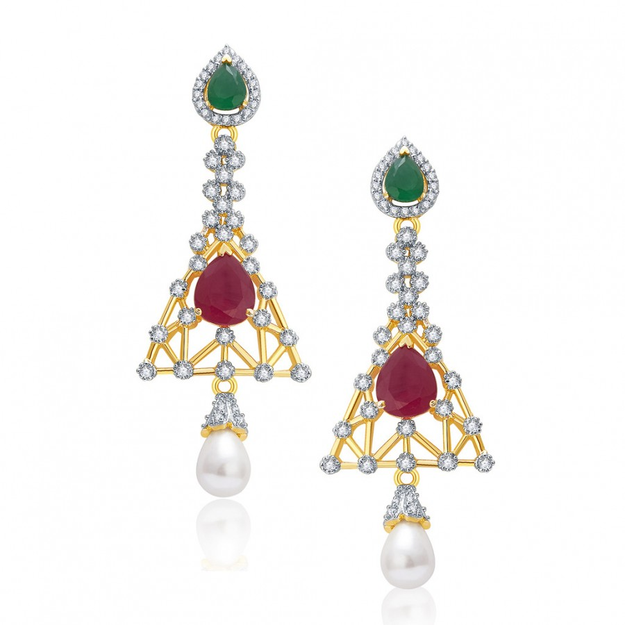 Buy Pissara Marvellous Gold And Rhodium Plated Ruby CZ Earrings For Women Online