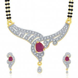 Buy Pissara Thrilling Gold And Rhodium Plated Ruby CZ Mangalasutra Set For Women Online