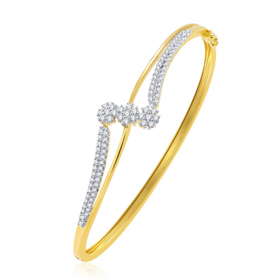 Buy Pissara Resplendent Gold And Rhodium Plated CZ Kada For Women Online