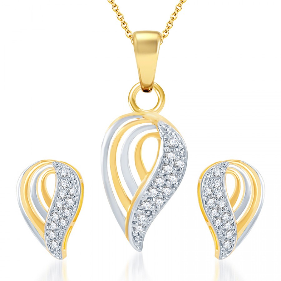 Buy Pissara Dazzling Gold and Rhodium Plated CZ Pendant Set Online