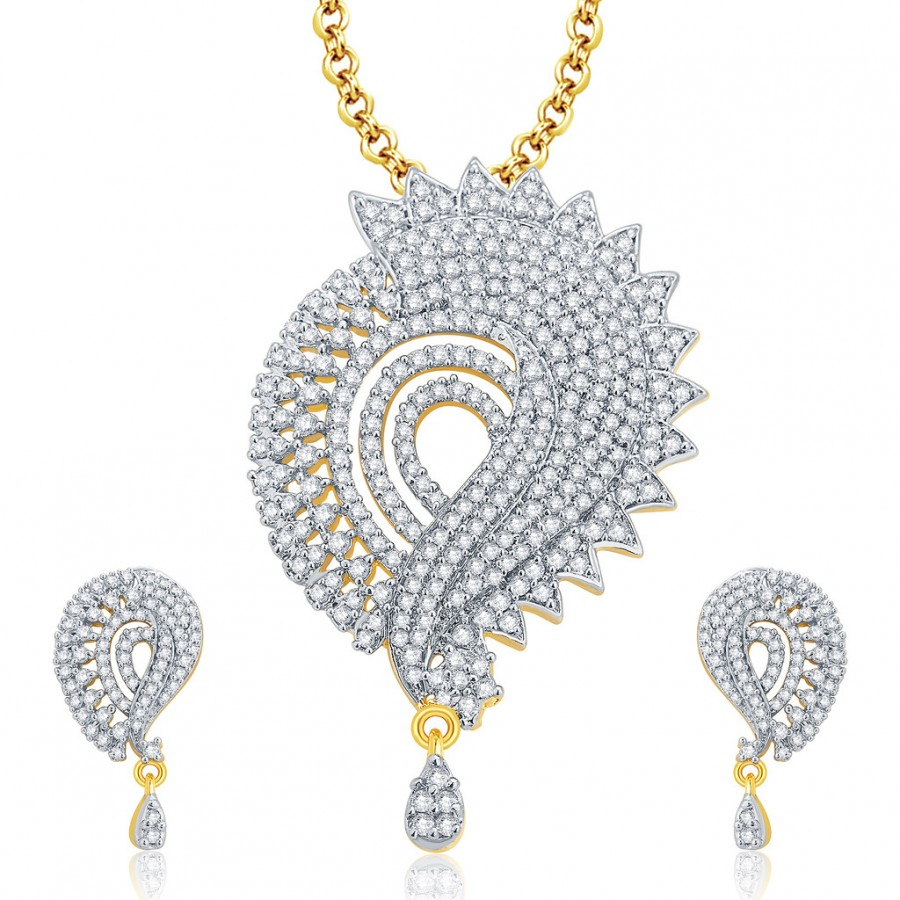 Buy Pissara Irresistable Gold And Rhodium Plated CZ Pendant Set For Women Online
